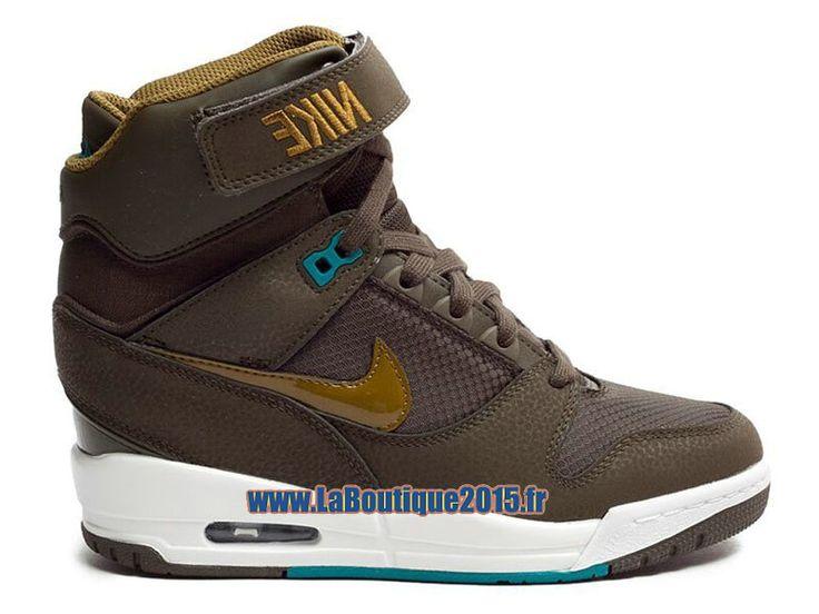 Nike Wmns Air Revolution Sky Hi GS Chaussure Montante Nike Pas Cher Pour Femme Sombre Loden Vert Blanc 599410-301