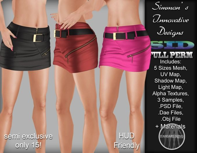 **NEW PRICE**  Semi-Exclusive Female Zipped Belted Skirt  ONLY 15 Available SID Template - No132