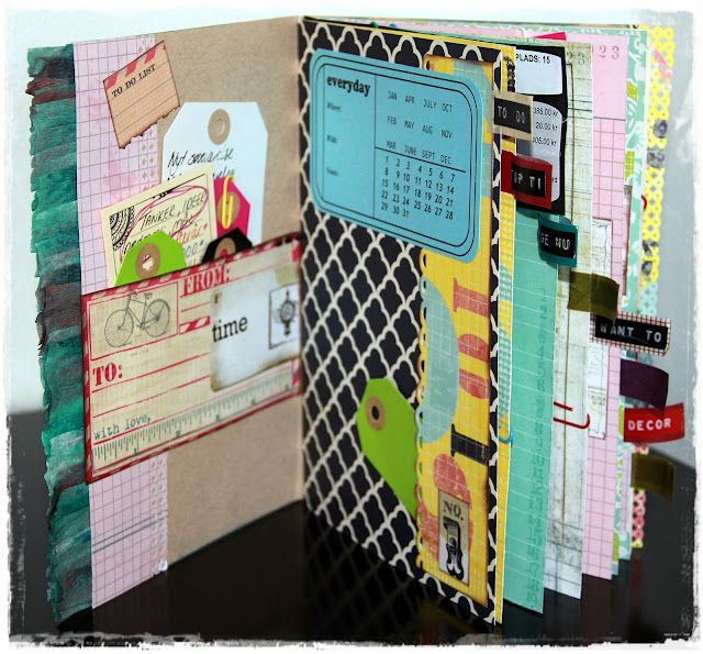 Smash book inspiration: I love the tabs down the side to mark different pages or sections. Would be easy to do with Washi tape