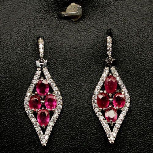 DAZZLING! REAL! RED RUBY & WHITE CZ STERLING 925 SILVER EARRINGS WHITE GP in Jewelry & Watches, Fine Jewelry, Fine Earrings | eBay