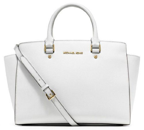 MICHAEL Michael Kors Selma Large Top Zip Satchel Optic White - MICHAEL  Michael Kors Designer Handbags