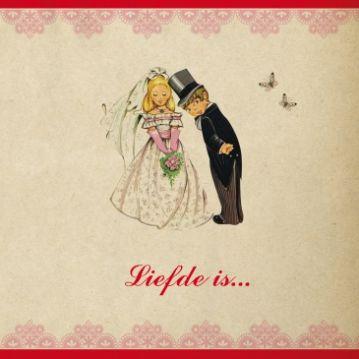 #Retro #trouwkaart Bob & Maartje op vintage papier en met een retro plaatje #bruid en #bruidegom op de voorzijde