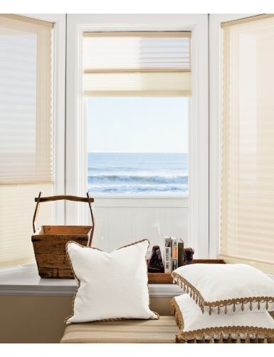 OptiLight Grand Cell Honeycomb Shades offer the unique combination of a Pleated Sheer Shade on top (for a nearly unobstructed view) and Honeycomb Shade on the bottom (for all-season energy efficiency)