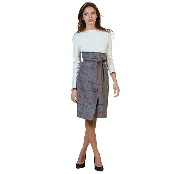 Grey Wrap Skirt W/ Windowpane Check | El Ganso® Online Store