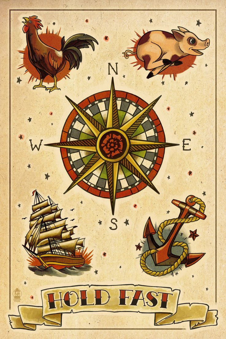 I like the idea of the Compass in the middle and then having other things around it like the Anchor, maybe viking helmet with wings, Swallows and something else.
