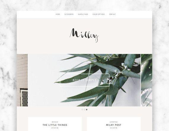 wordpress theme MILKY / minimalist wordpress template by ohwildshop