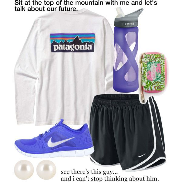 """""""Total Nonsense"""" by musicprincess98 on Polyvore Patagonia nike sneakers purple tempo shorts pearls"""