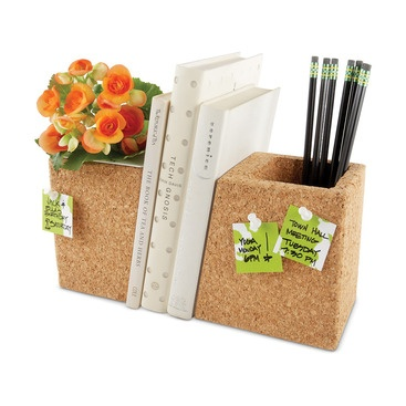 You multi-task all day. Why shouldn't your desktop accessories do the same? This forward-thinking set doubles as all-natural, contemporary cork planter that's water tight and mildew-resistant. One or both sides can also be used as for modern desktop storage and organizing pens, printed receipts and more. It even includes a removable polystyrene insert that can be washed and reused.