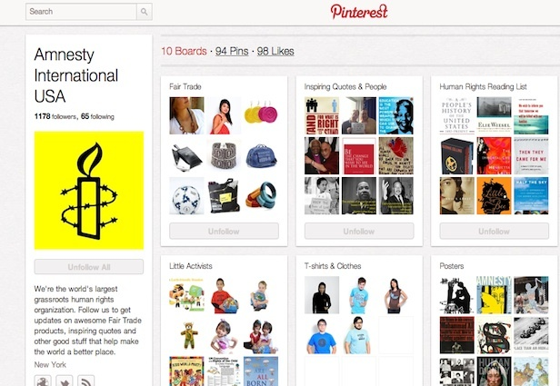 From Mashable, some examples of mostly large #nonprofit orgs using Pinterest to reach out to donors and constituents.