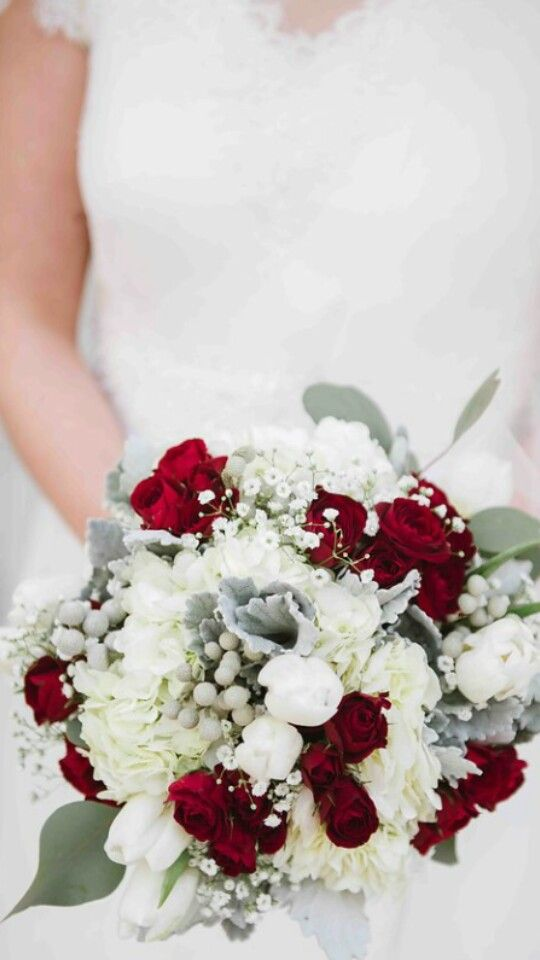 Bridal bouquet Elegant royal color choices red mikado spray roses white tulips white hydrenga brunia berries babies breath dusty miller and silver dollar eucalyptus