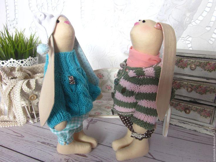 Купить Парочка зимних зайчиков - бирюзовый, розовый, розово-серый, мятный, заяц, зайка