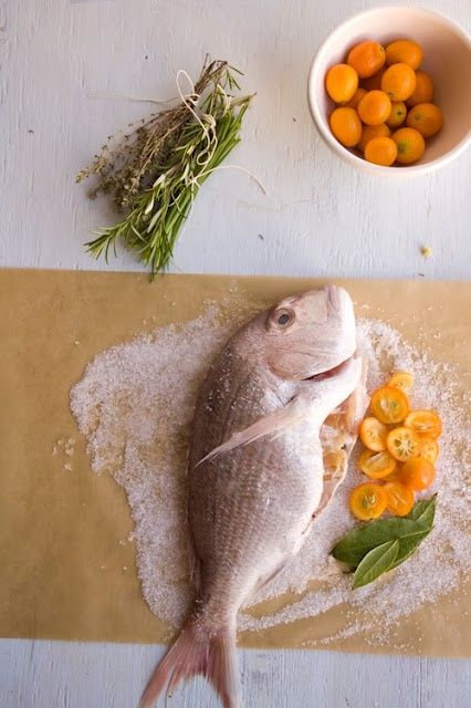 whole fish, stuffed with herbs and kumquats then baked in sea salt