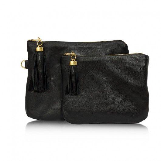 kosmetyczki-Double Leather Black - dwie kosmetyczki