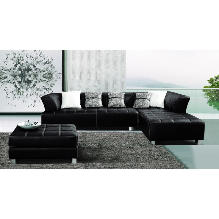 Furniture Of America Rachelle 3 Piece Sectional With Chaise And Ottoman Set    Overstock™