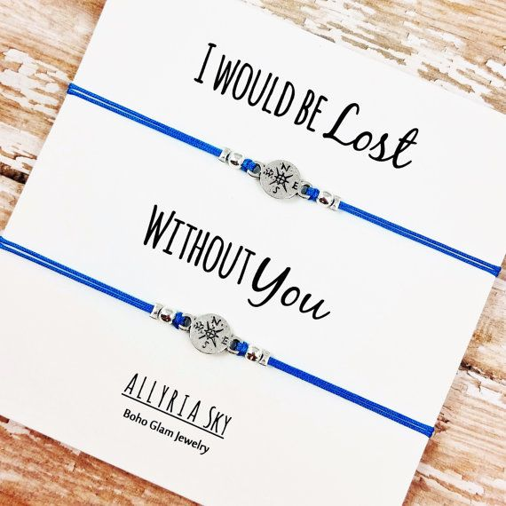 """Set of Two Compass Friendship Bracelets with """"I Would Be Lost Without You"""" Card   BFF, Best Friend Gift Jewelry   Matching Friend Bracelets"""