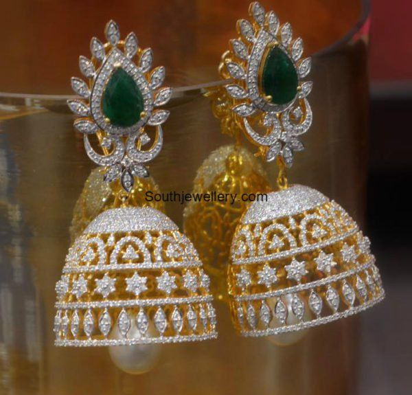 Diamond Emerald Jhumkas photo