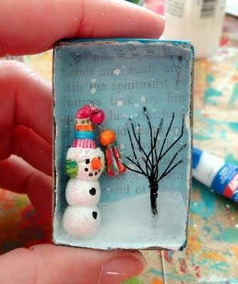 Use small boxes (jewellery or Dove soap), Snowman made from crayola model magic or salt dough painted white