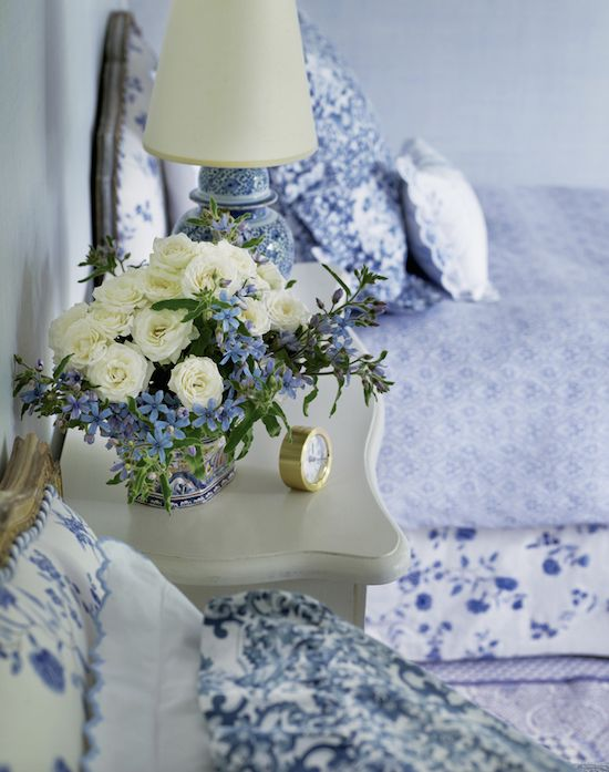Antique style blue floral bedroom. Charlotte Moss.