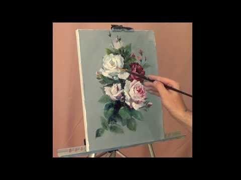 Учимся рисовать розу масляными красками - YouTube