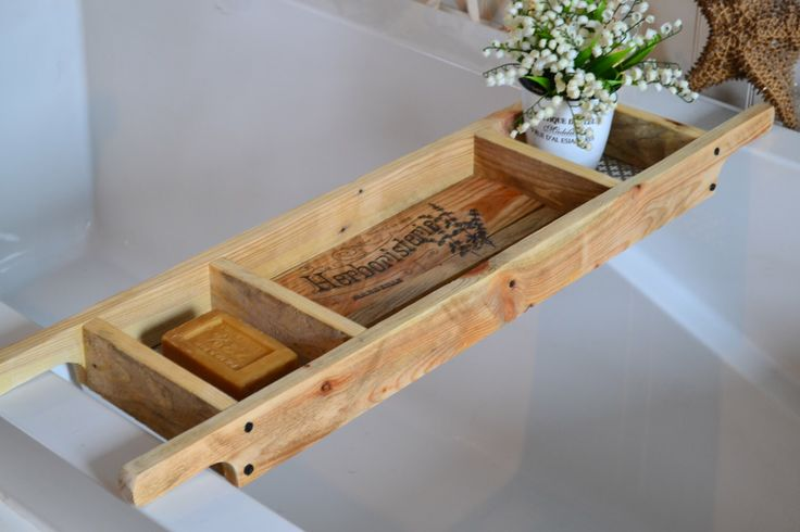 Bath Tray/Made to Order/Recycled Pallet Wood/Rustic Style Bath Rack/Old World Writing/Natural Wood Bath Caddy by SharonMfortheHome on Etsy https://www.etsy.com/uk/listing/269253346/bath-traymade-to-orderrecycled-pallet