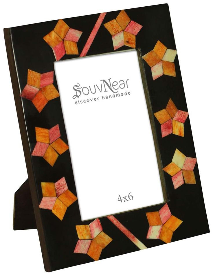 Source 4x6 Inches Black & Orange Picture Frame in Bulk - Wholesale Handmade Photo Frame with Star Shaped Motifs in MDF & Bone - Home Decor Picture Frames from India