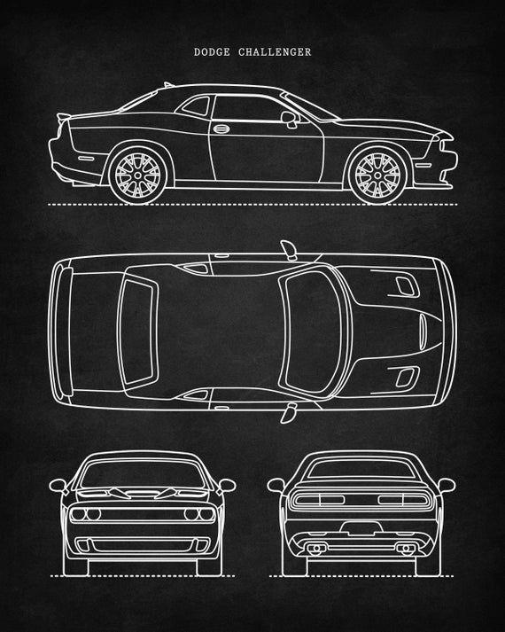 Dodge Challenger Car Art Patent Print Wall Art Unique Gift Car Art Print Decals Patent Prints