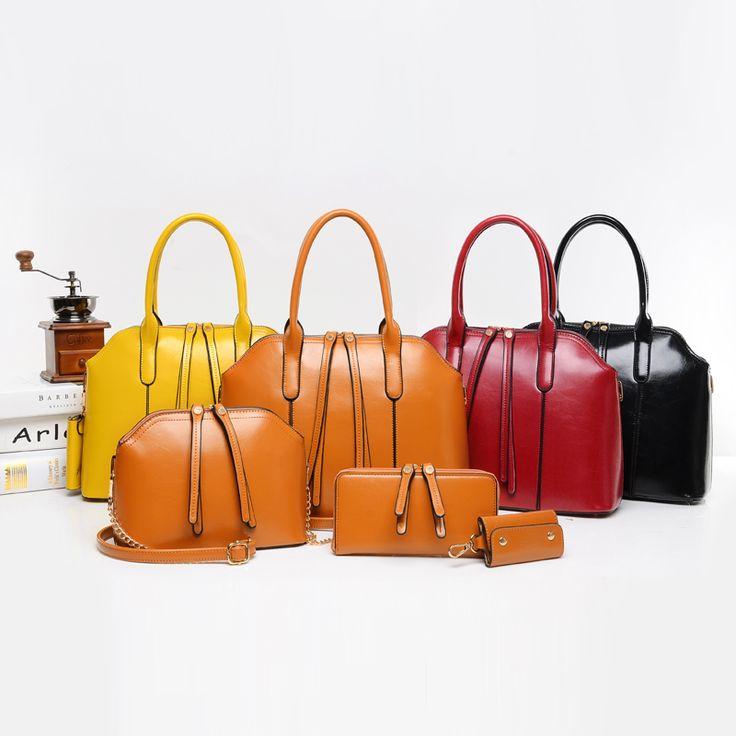 Wax Oiled PU Leather Bag Women Lady Handbag Shoulder Crossbody Handbag+Messenger Bag+Purse+key Bags 4pcs/sets Oblique Package-in Shoulder Bags from Luggage & Bags on Aliexpress.com | Alibaba Group
