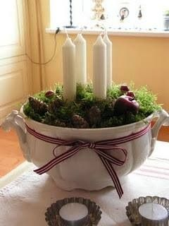 Advent candles in a soup tureen, tea lights in tart tins