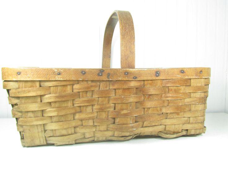 Basket,picnic basket, farmhouse,shabby chic basket,woven basket,wicker,storage basket,container,shabby chic decor by KarensChicNShabby on Etsy