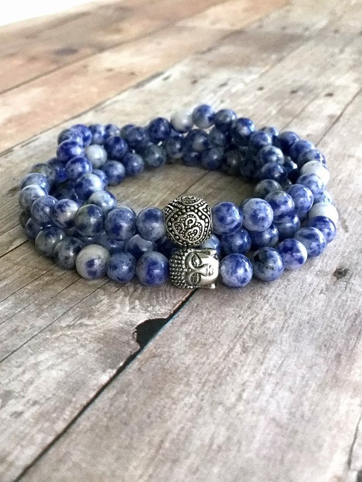 Om Necklace or Wrap Bracelet / Sterling Silver Buddha Bead Jewelry / Blue Sodalite Bracelet