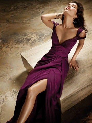 Purple V-Neck Leg-Split Dress