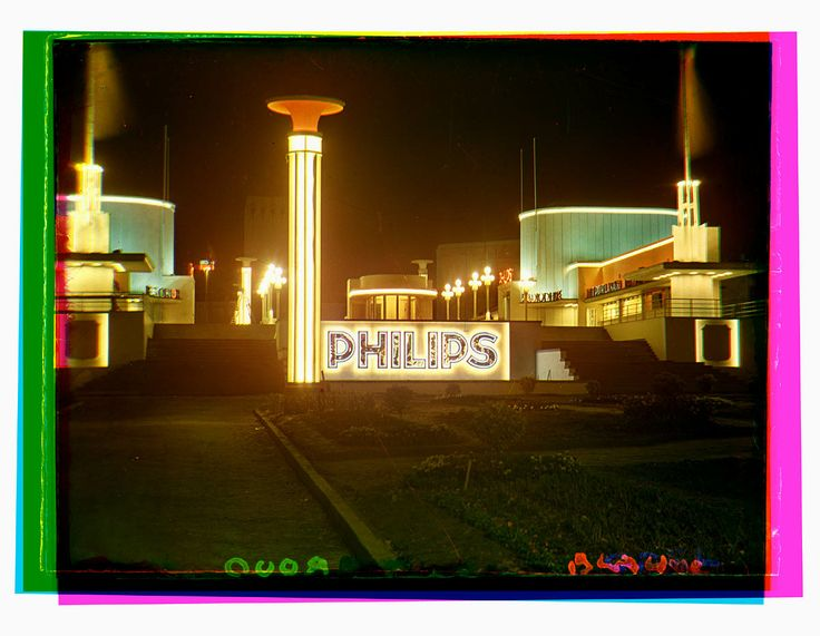 Brussels World Fair in 1935, Evening shot of the Philips Pavilion - Bernard F. Eilers