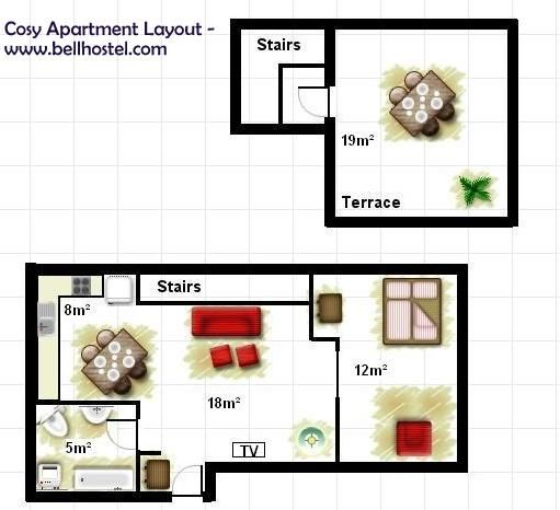 Cosy Apartment layout - www.bellhostel.com