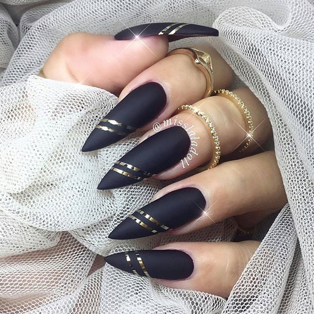 Black matte with gold striping tape long stiletto nail art Nail Design, Nail Art, Nail Salon, Irvine, Newport Beach