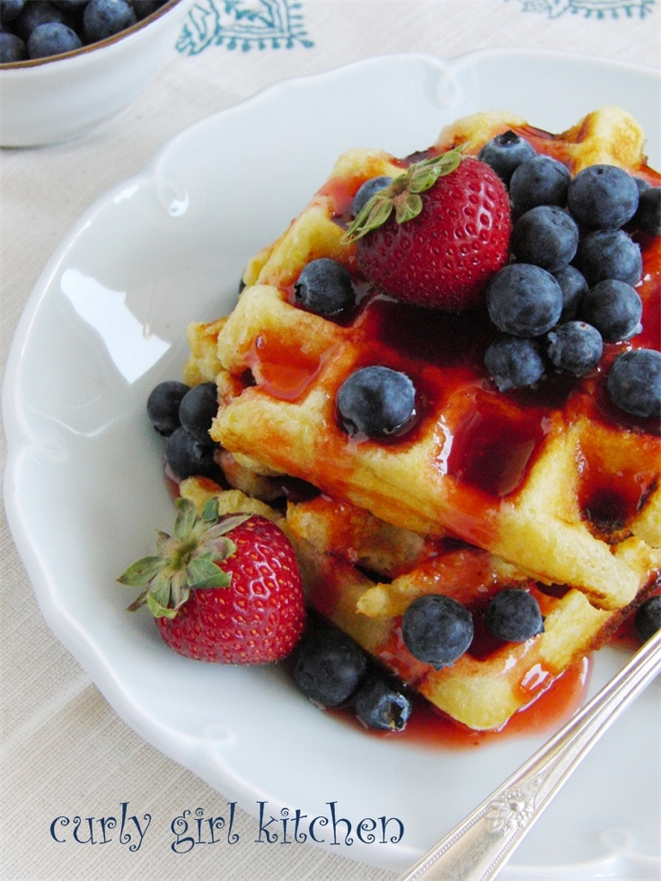 Lemon Yogurt Waffles with Berries and Strawberry Rhubarb Syrup (from ...