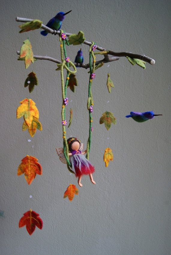 fairy mobile with branches...made of felt..very cute