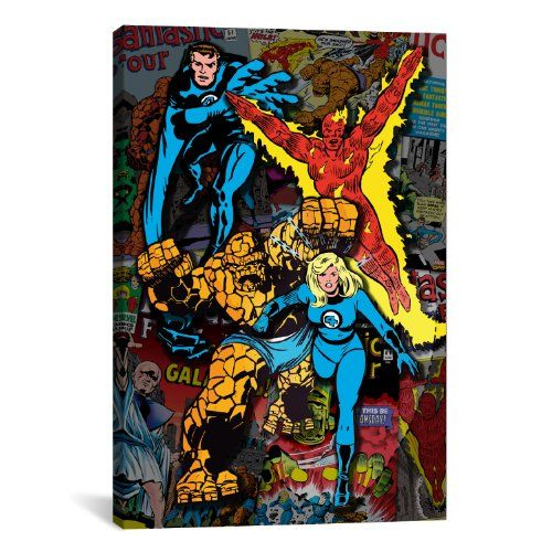 iCanvasART Marvel Comic Book Fantastic Four Covers Collage No2 by Marvel Comics Canvas Art Print 40 by 26Inch ** Details can be found by clicking on the image.Note:It is affiliate link to Amazon.