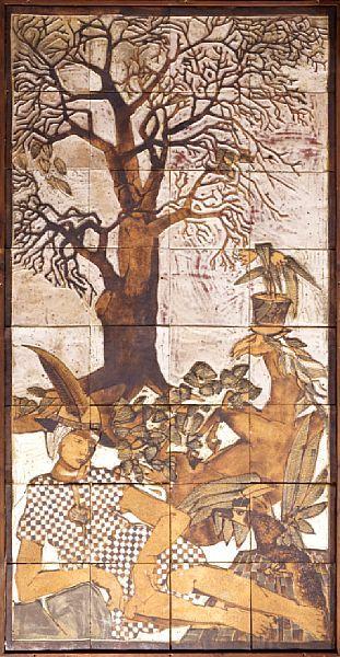 Arne Åse  Gaular 1940  Mytologisk motiv Keramiske fliser montert på plate, 218x110 cm (keramikk) Usignert   Trolig 1970-tallet