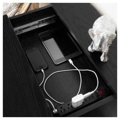 Jeffrey Nightstand With Charging Station - Black Oak - South Shore