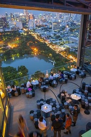 Wide eyed view over Bangkok, Thailand...