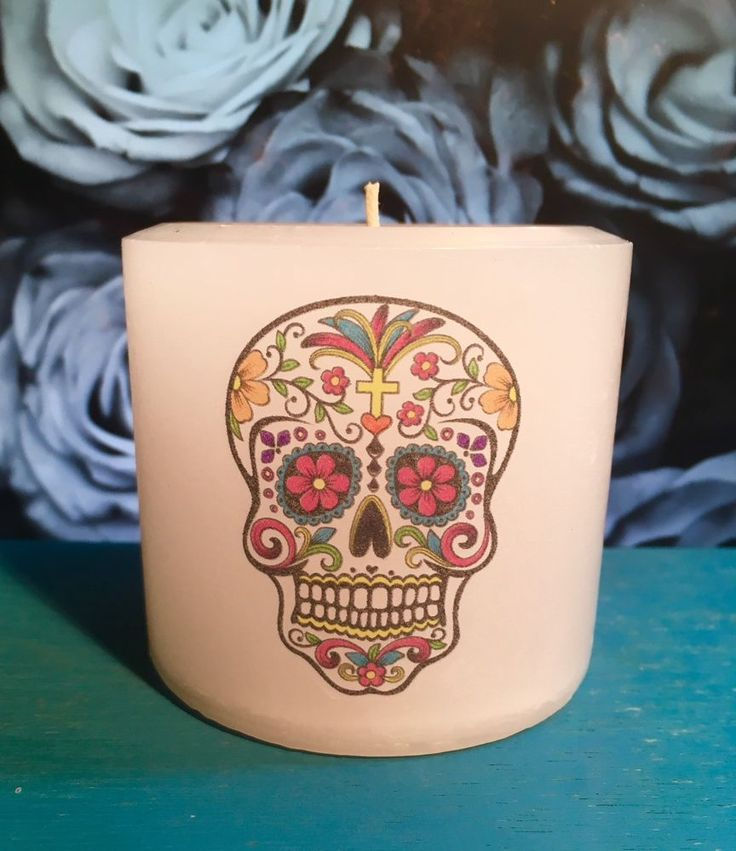 Day Of The Dead Skull Candle, Colorful Skull Pillar Candle   | eBay