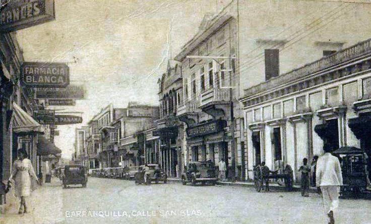 Antigua calle San Blas, con sus carros y guacales de la época