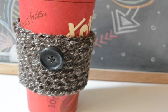 Brown Cup Sleeve, Crochet Coffee Cup Sleeve, Mug Cozy With Button
