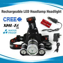 Rechargeable LED Headlamp Headlight 3xCREE XM-L T6 Torch Lamp 2X 18650 batteries