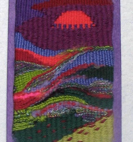 Framed tapestry landscape woven on the mirrix loom