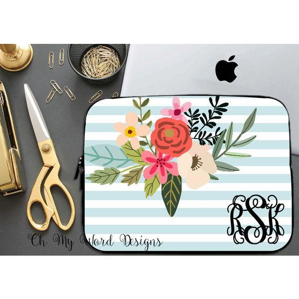 Laptop Sleeve-Stripes and Flowers Laptop Sleeve-Laptop Sleeve-Neoprene... ($28) ❤ liked on Polyvore featuring accessories, tech accessories, home & living, office, office & school supplies, silver, laptop sleeve cases, water resistant laptop case, monogrammed laptop case and laptop case