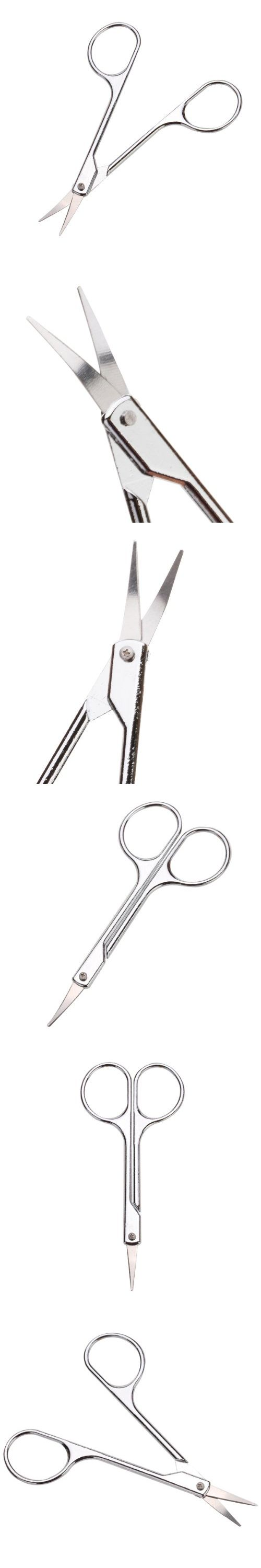2pcs Curved Trimming Eyebrows Hangnail Cuticle Nail Nose Scissors