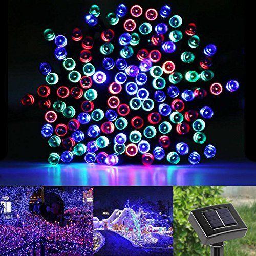 LE® LED RGB Solar Lichterkette, 17 Meter, wasserdicht, 100 LEDs, Rot / Grün / Blau, 1,2 V, mehrfarbig, tragbar, mit Lichtsensor, Solarlichterketten, Lichterkette außen, Weihnachtslichterketten, Beleuchtung Für Hochzeit und Party