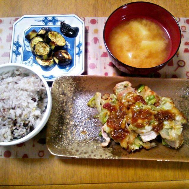 ちょっとだけ残ってた赤みそ消費~ - 10件のもぐもぐ - 10月29日 レタスの肉巻き なす田楽 じゃがいものお味噌汁 by sakuraimoko