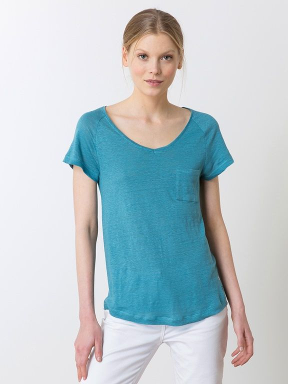 T-shirt loose femme en jersey de lin, HEKI - BLANC CASSE+BLEU CANARD+INDIGO+NOIR+PAPRIKA+TOURTERELLE - 6